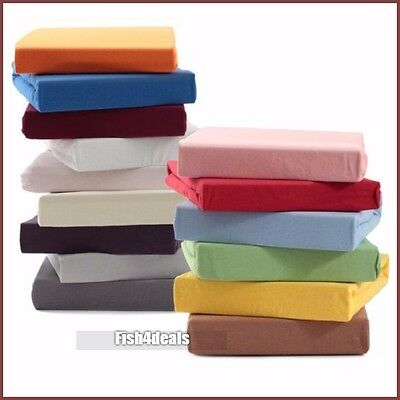 Double and King Fitted Only 100% Cotton Soft Jersey Fitted Sheets