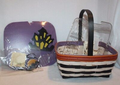 Longaberger 2014 Haunted House Hallows Eve Basket Protector Lid & Tie On Set New