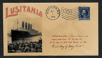 1915 Lusitania Ad Reprint with 102 year old stamp on Collector's Envelope OP1110