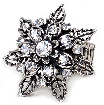 Rhinestone Stretch Ring Flowered Design