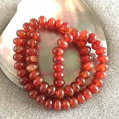 """Natural High Quality Carnelian 10 mm Rondelle Beads, 16"""" Temporary Strand"""
