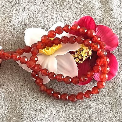 """Beautiful Carnelian 6 mm Faceted Round Beads, 15"""" Temporary Strand"""