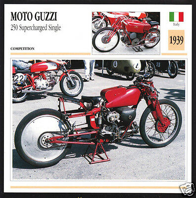 1939 Moto Guzzi 250cc Supercharged Single Italy Motorcycle Photo Spec Info Card
