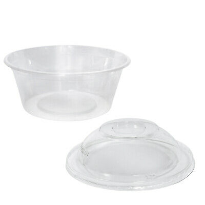 1000x Clear Plastic Container with Dome Lid 300mL Round Disposable Rice Dish