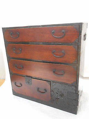 Antique Keyaki and Sugi Wood Tansu Cabinet Cupboard Drawers Japanese C1890s #128