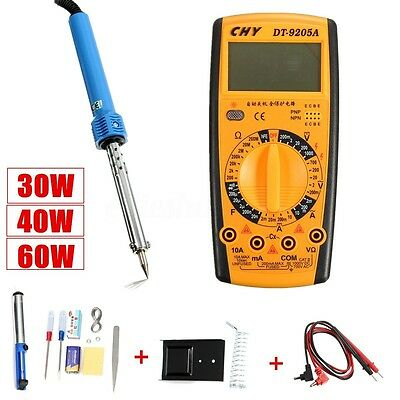 10in1 60W Solder Stick Solder Sucker Multimeter Soldering Iron Set Kit 220V AU