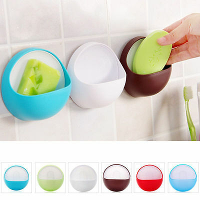 1pc Bathroom Accessories Soap Dish Plastic Suction Cup Wall Soap Box Holder Tray