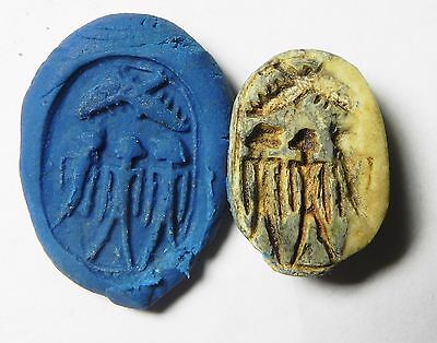 Zurqieh -Af922- Ancient Egypt , New Kingdom Steatite Scarab. 1400 B.c