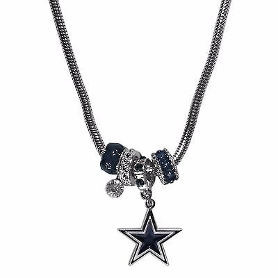 Dallas Cowboys Euro Bead Necklace NFL Football Licensed Rhinestones and Charm