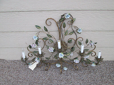 58037 Metal And Porcelain 5 Arm Candle Wall Sconce