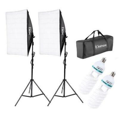 2Pcs Softbox Stand Photography Photo Set 135W Bulb Single Head Studio Light Kit