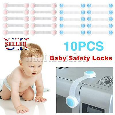 10X Baby Child Safety Proofing Lock Cupboard Adhesive Cabinet Door Fridge Drawer