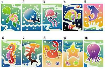 Sand Art Card - Sea Theme (30 cards in 10 designs) - coloured sand not included