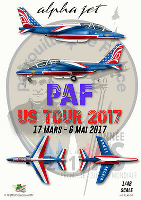 "[FFSMC Productions] Decals Patrouille de France Alphajet ""PAF US Tour"" 2017 1/48"