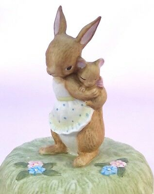 Music Box Easter Bunny Rabbit Mother and Baby Lefton Porcelain Bisque Figurine