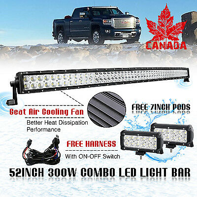 "52Inch CURVED LED Light Bar Combo + 7"" CREE PODS Offroad SUV 4WD Fog Jeep 50"" 20"