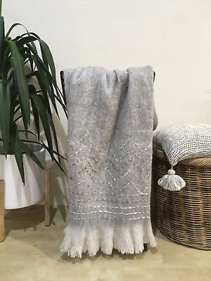 Light Grey Embroidered Throw Rug Couch Lounge Sofa Blanket Wool Mix Blend