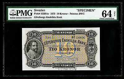 1879 Sweden Goteborgs Enskilda Bank Specimen 10 Kronor Note P. 228As PMG 64 UNC