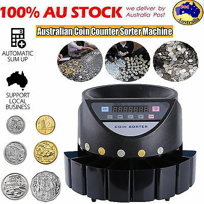 AU SHIP Australian Coin Counter Led Display Automatic Electronic Sorter Machine
