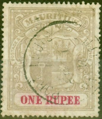 Mauritius 1907 1R Grey-Black & Carmine SG175 Good Used