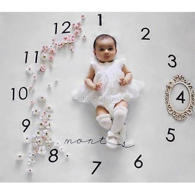 Newborn Baby Monthly Growth Milestone Blankets Photography Props Kids Gifts Mat