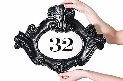 Black and White Renaissance Period Style House Number Plaque