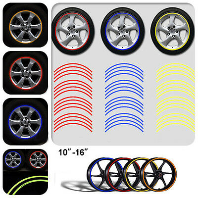 CO_ 16Pcs Motorcycle Vehicle Reflective Rim Stripe Wheel Decals Tapes Stickers N