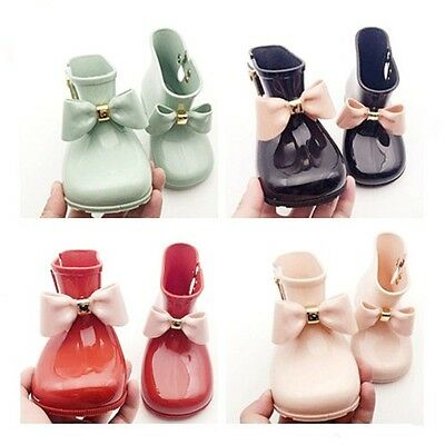 Newest Mini Melissa Jelly Princess Boots Shoes Butterfly Girl's Sugar Rain Bow