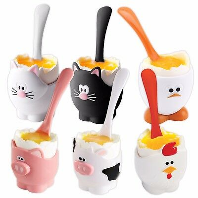 Joie Novelty Egg Cup & Spoon - Cat, Cow, Pig, Egg & Chicken