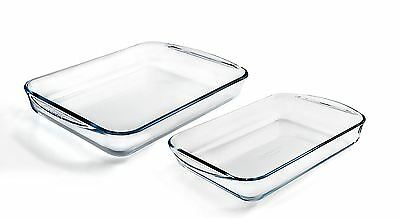 Pyrex 2 Roaster Dish Set Easy Grip Baking Oven Cook Dinner Glass Party Rectangle