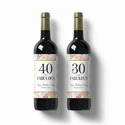 2 X Personalised Birthday Floral Stripe Wine Champagne Label Gift