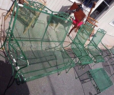 Wrought Iron Patio Set ~~Love seat, 2 Arm Chairs & Table~~  Lovely Set 4 Pieces