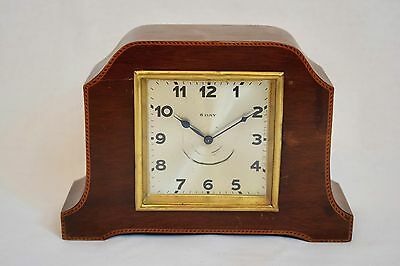 VINTAGE 1920s BADISCHE UHRENFABRIK GERMAN 8 DAY INLAID MAHOGANY MANTEL CLOCK