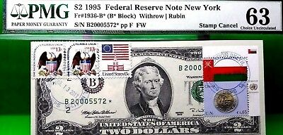 Money Us $2 Dollars Federal Reserve Star Note 1995  Pmg  Flag Of Oman Ch Unc