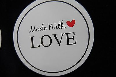 60 x Craft MADE WITH LOVE  Sticker Round Labels  Jar Party Gift LETTERS KRAFT