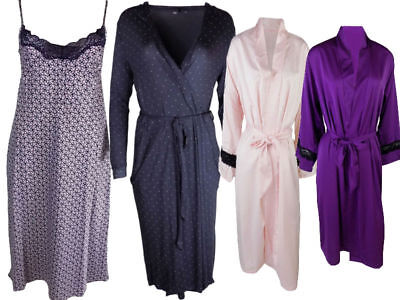 Ex M&S womens Chemise Satin Dressing Lingerie Gown Wrap Robe Nightwear Nighty