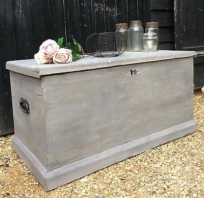 Victorian Painted Pine Blanket Box, Two Tone Grey