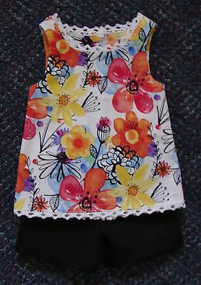 """18"""" Doll Colorful Flower Print Tunic & Shorts (Fits American Girl) - New - Cute!"""
