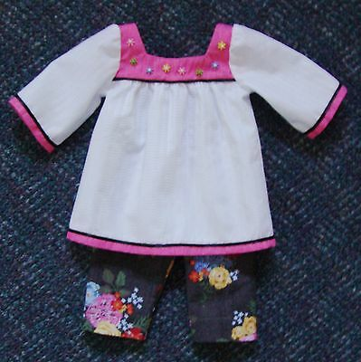 """18"""" Doll White & Pink Tunic with Colorful Pants (Fits American Girl) -New -Cute!"""