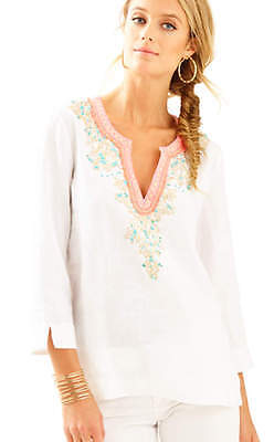 b80586ad07ac88 New Lilly Pulitzer Amelia Island Tunic Resort White Embroidered Blouse Top M