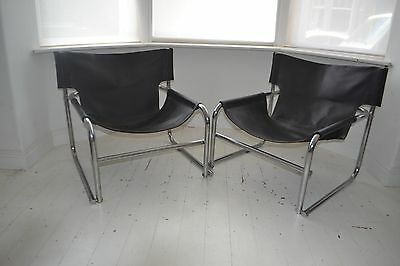 Stunning Pair Vintage Rodney Kinsman Omk T1 Sling Leather & Chrome Lounge Chairs