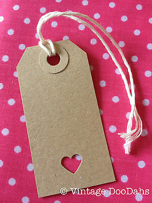 Vintage Style Gift/ Luggage Tags - Hand stamped - Pack of 10 - Heart - Wedding