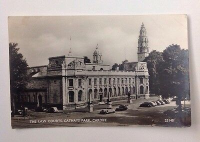 Cardiff, The Law Courts, Cathay Park, Vintage RP Postcard, Postally Used 1957