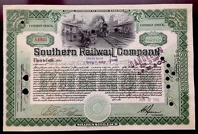 1916 Southern Railway Co.- J. P. MORGAN'S $46,522,700 CERTIFICATE - 1 OF A KIND!