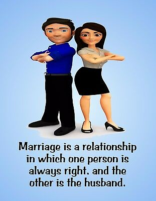 METAL REFRIGERATOR MAGNET Marriage One Person Right Other Husband Family Humor