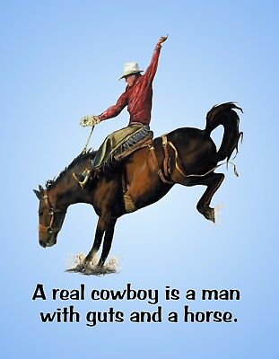 METAL REFRIGERATOR MAGNET Real Cowboy Is Man With Guts And Horse Western