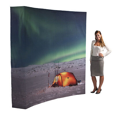415cm Custom Printed Easy Set-up Pop-up Fabric Premium Curved Display Stands