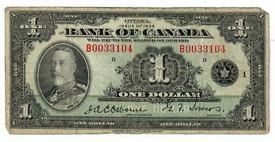 1935 Bank Of Canada $1 One Dollar Note Bc-1 Fine Osborne/Towers