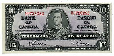 1937 Bank Of Canada Banque Of Canada $10 Ten Dollar Note Ch Cu Gordon/towers
