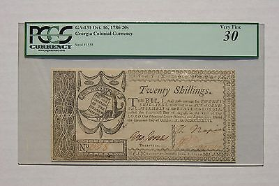 Colonial Currency Georgia Oct.16,1786 Twenty Schillings,PCGS VF-30